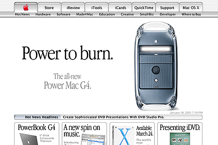 Apple website in 2001