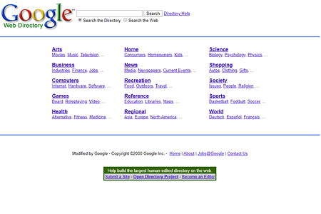 Google Web Directory in 2000