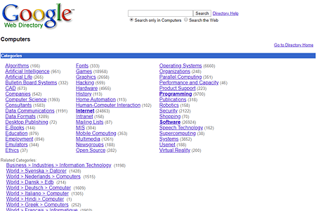Google Web Directory > Computers in 2000