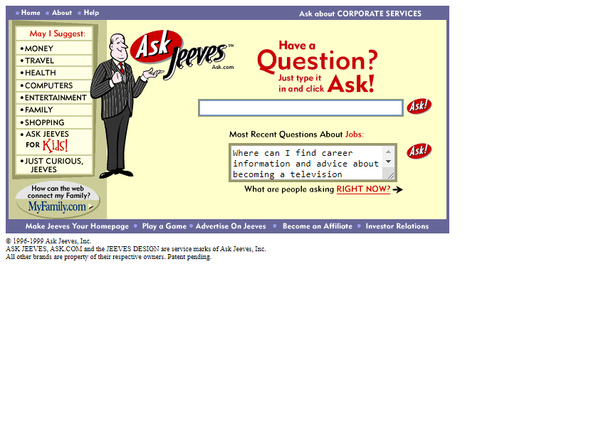 Ask Jeeves in 1999