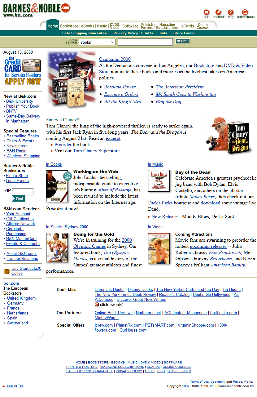 Barnes Noble In 2000 Web Design Museum