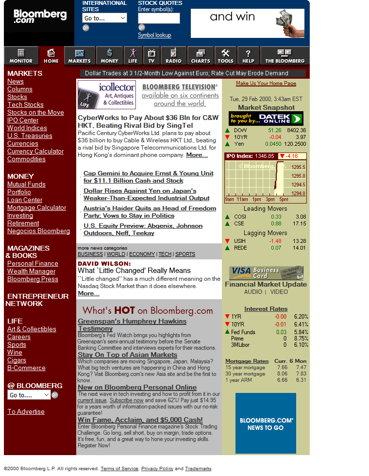 Bloomberg in 2000