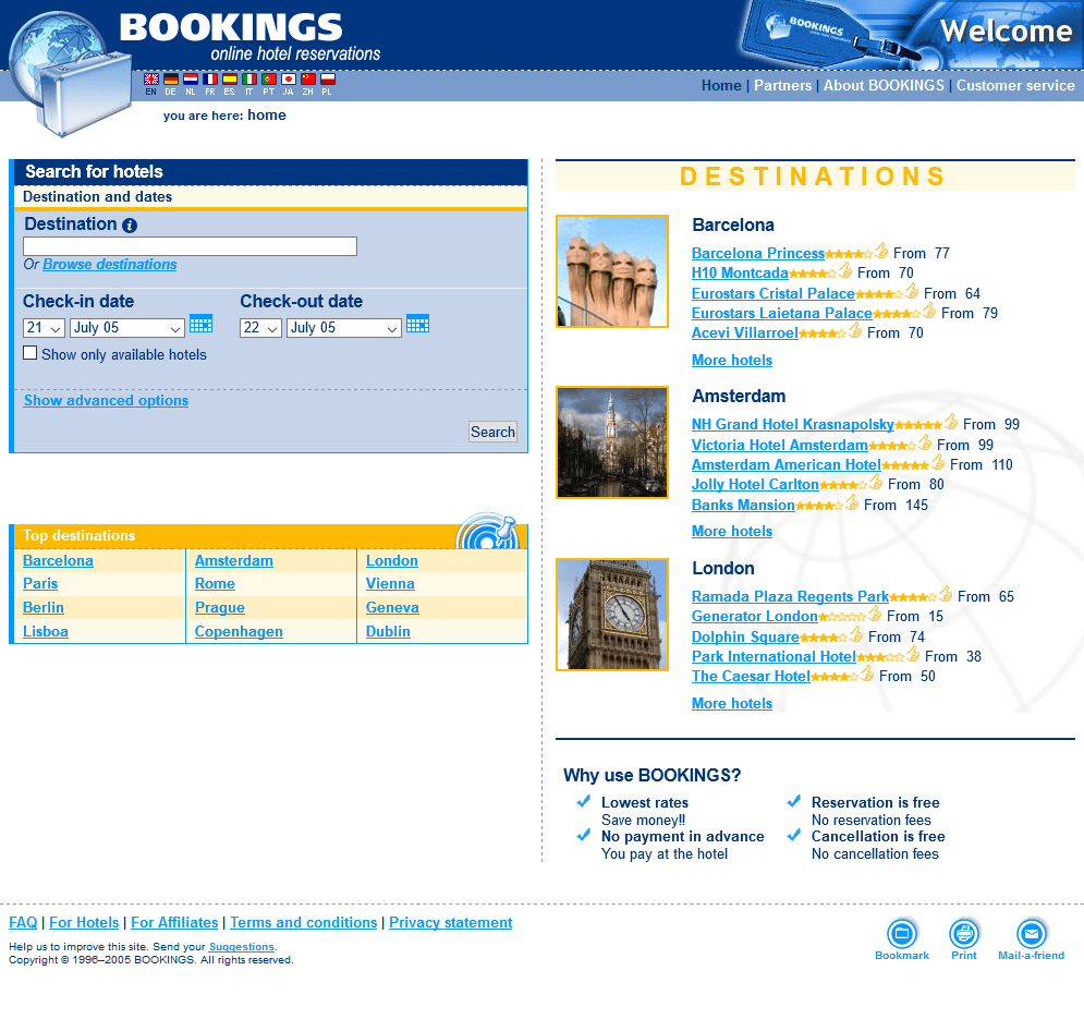 Booking.com in 2005