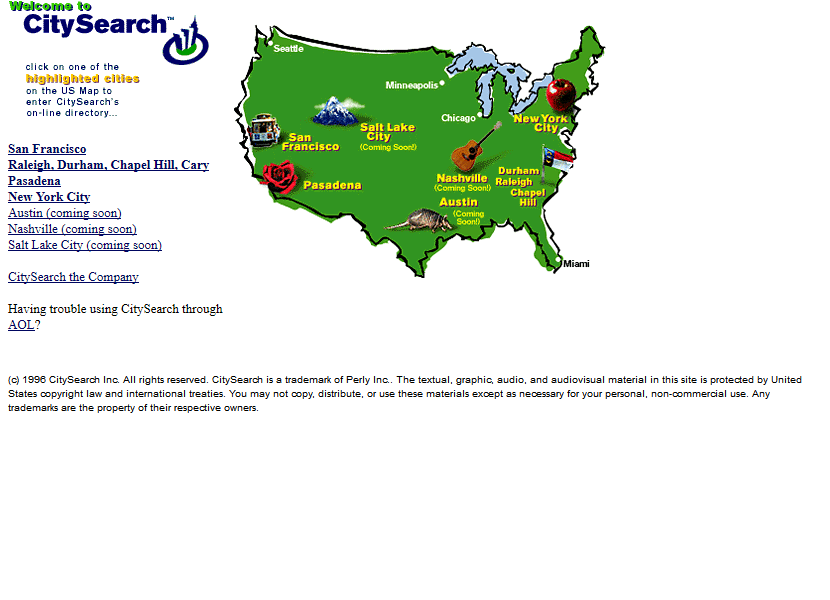 CitySearch in 1996
