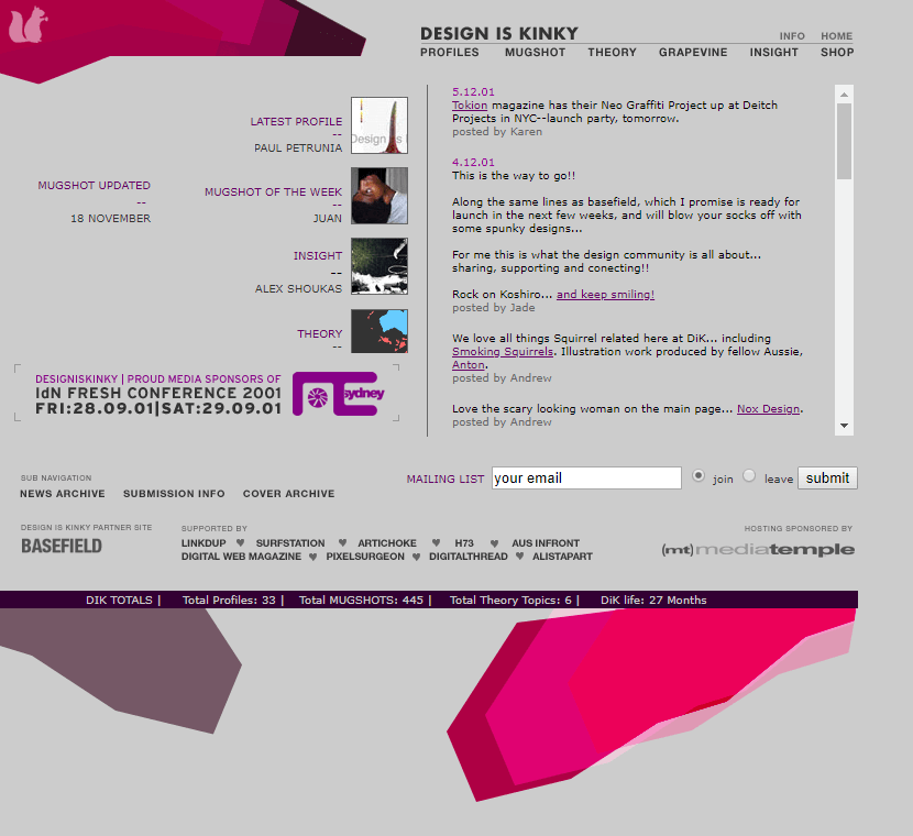 Design is Kinky website in 2002