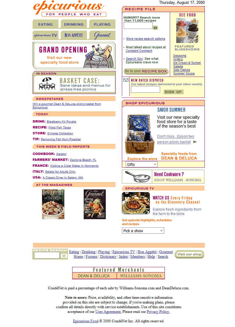 Epicurious Food in 2000