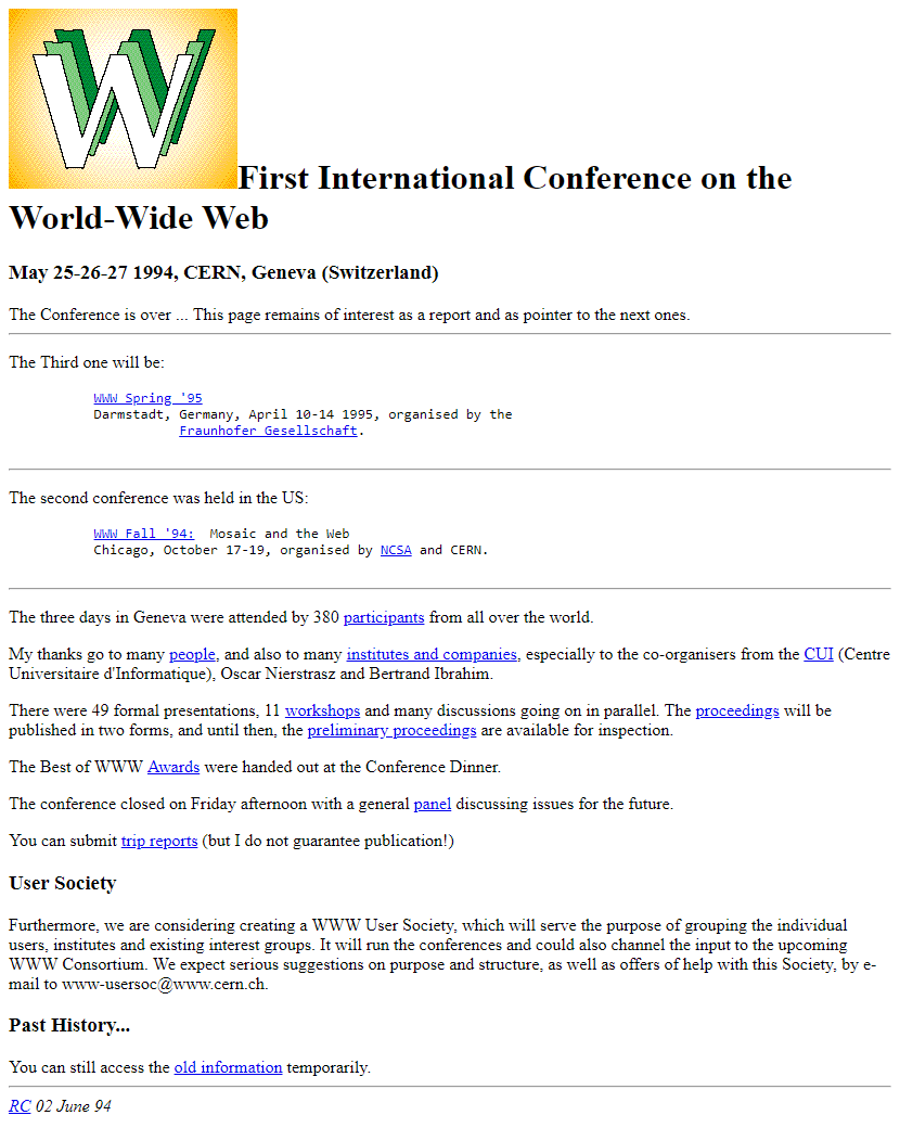 First WWW Conference in 1994