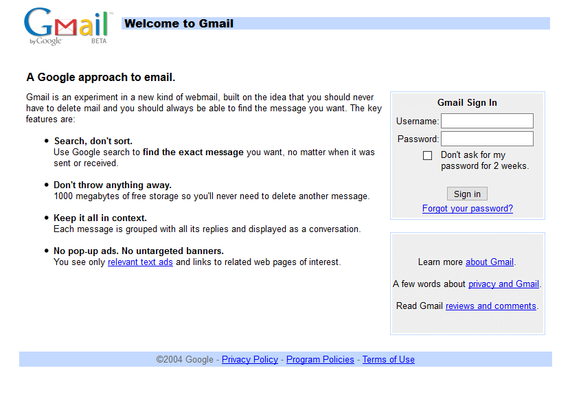 Gmail in 2004