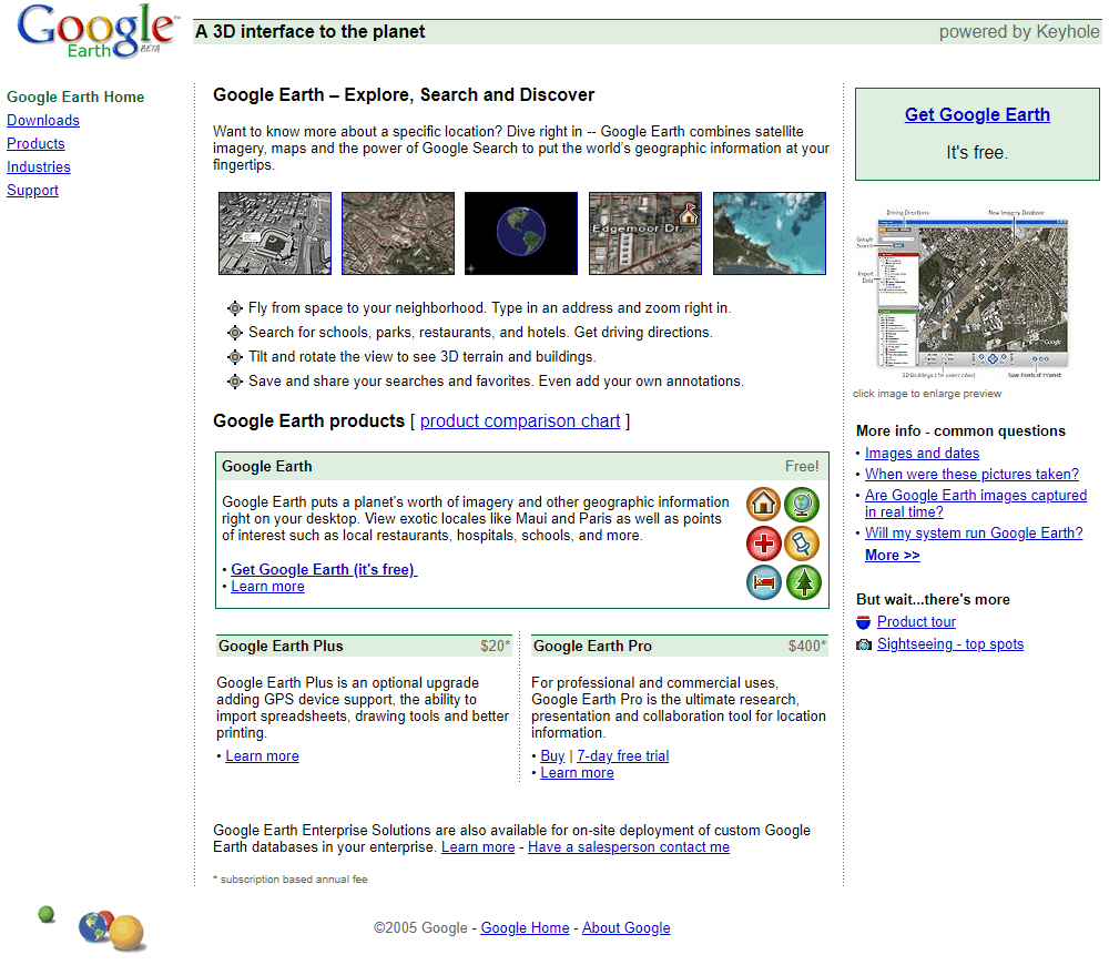 Google Earth in 2005