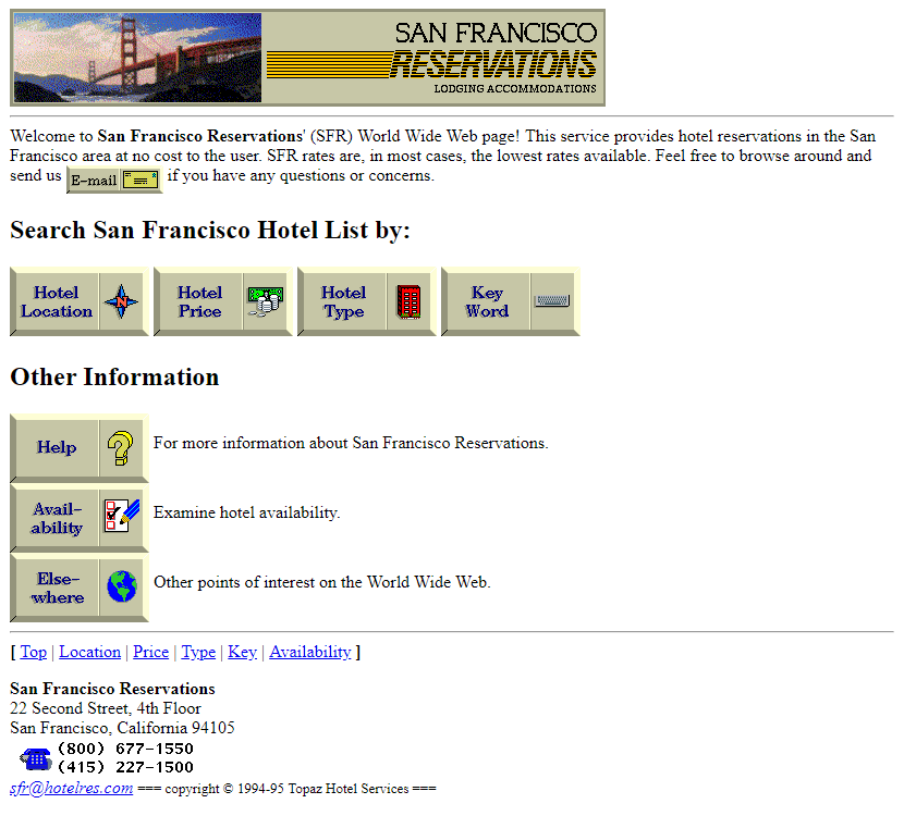 San Francisco Reservations in 1995