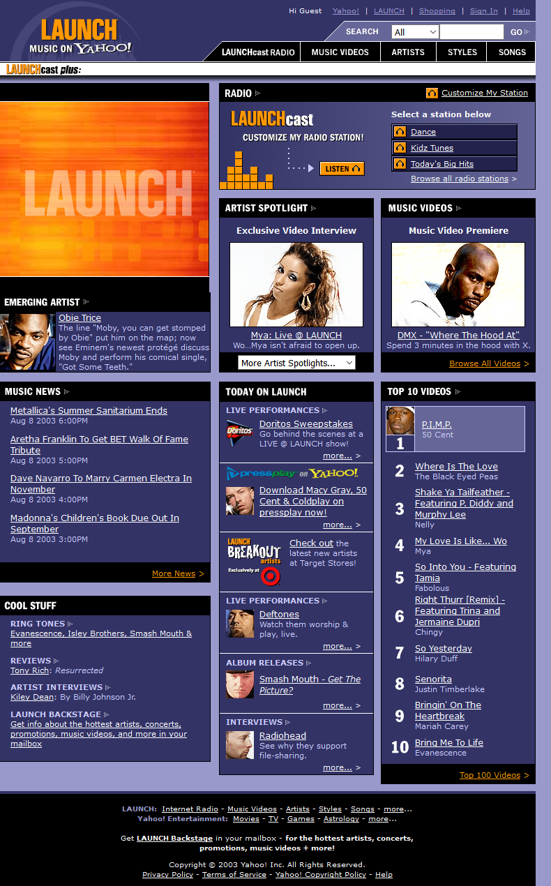 Launch Yahoo 2003