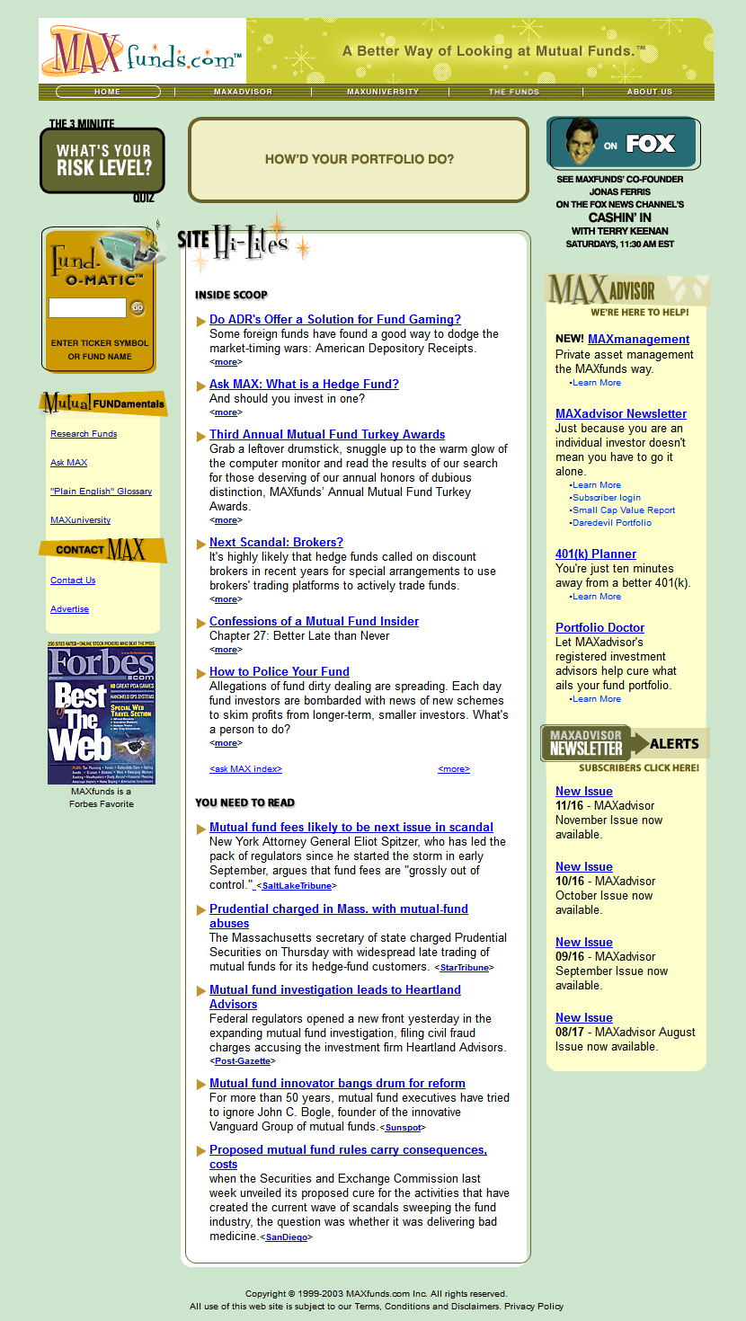 MAXfunds in 2003
