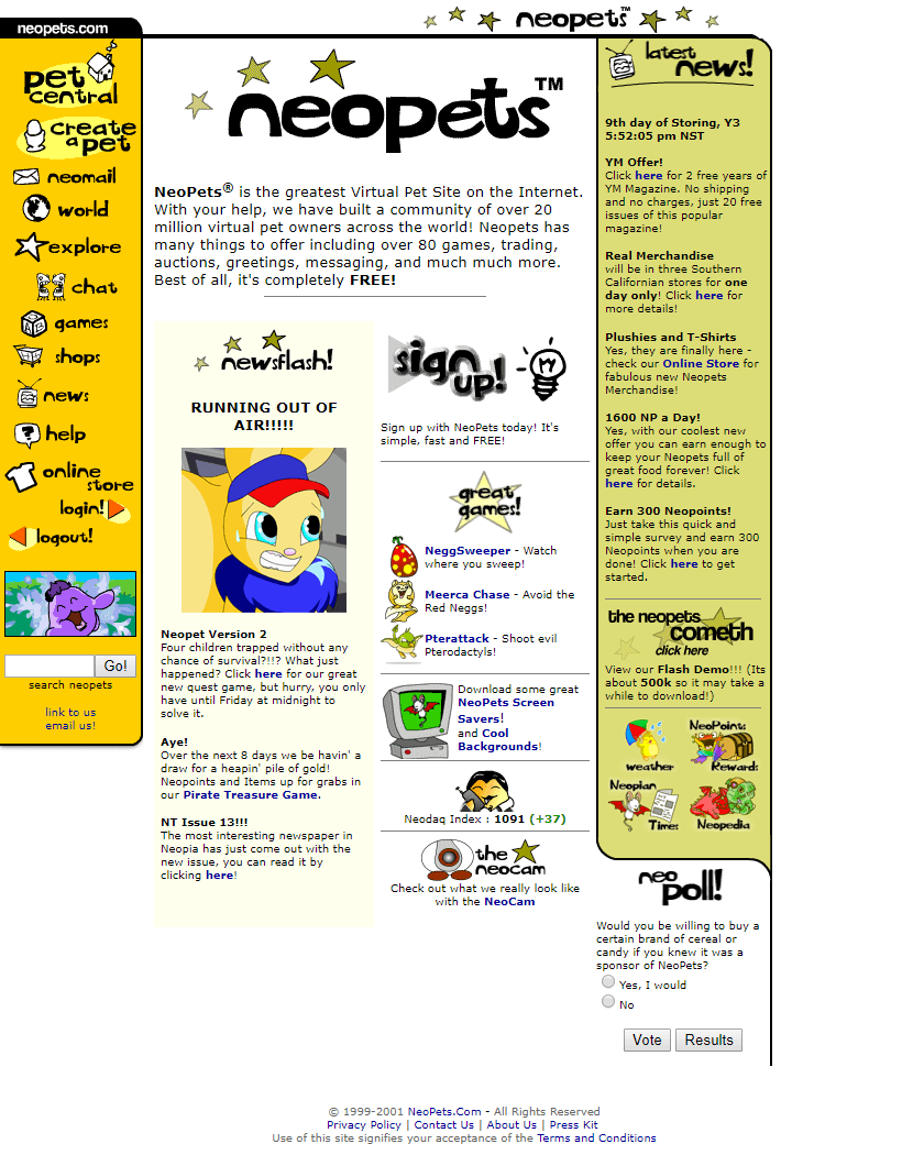 NeoPets in 2001