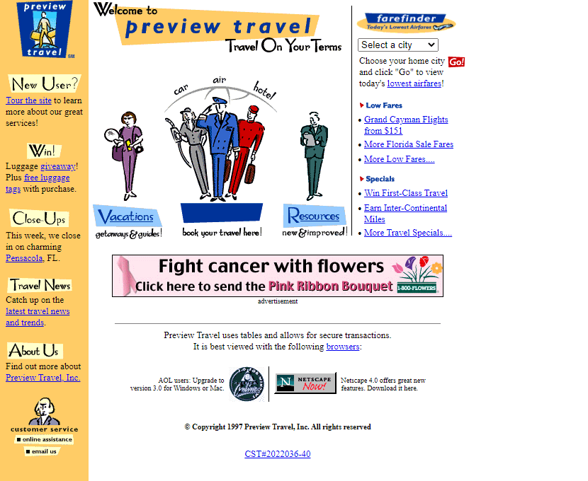 Preview Travel in 1997