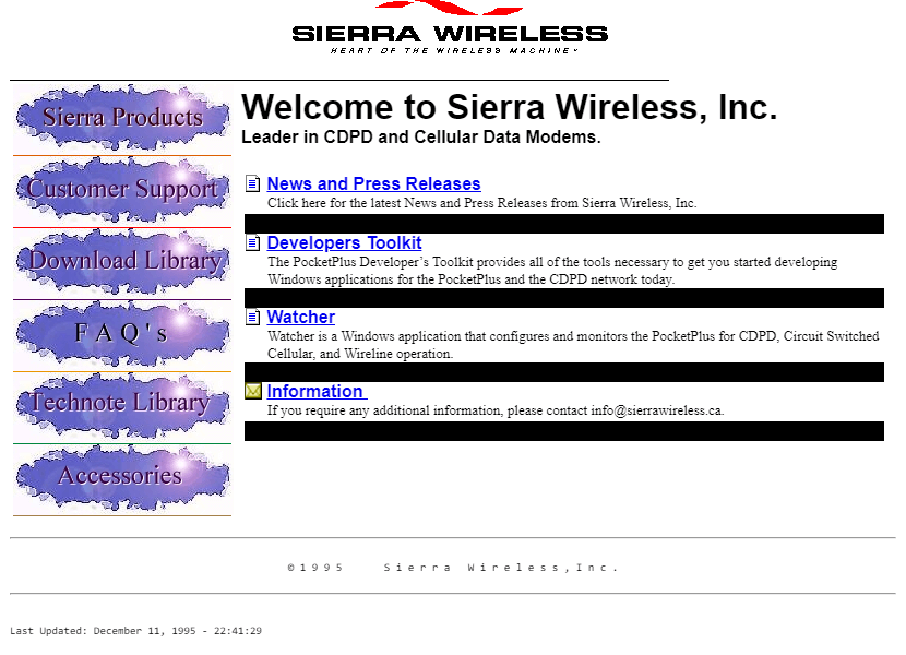 Sierra Wireless in 1995