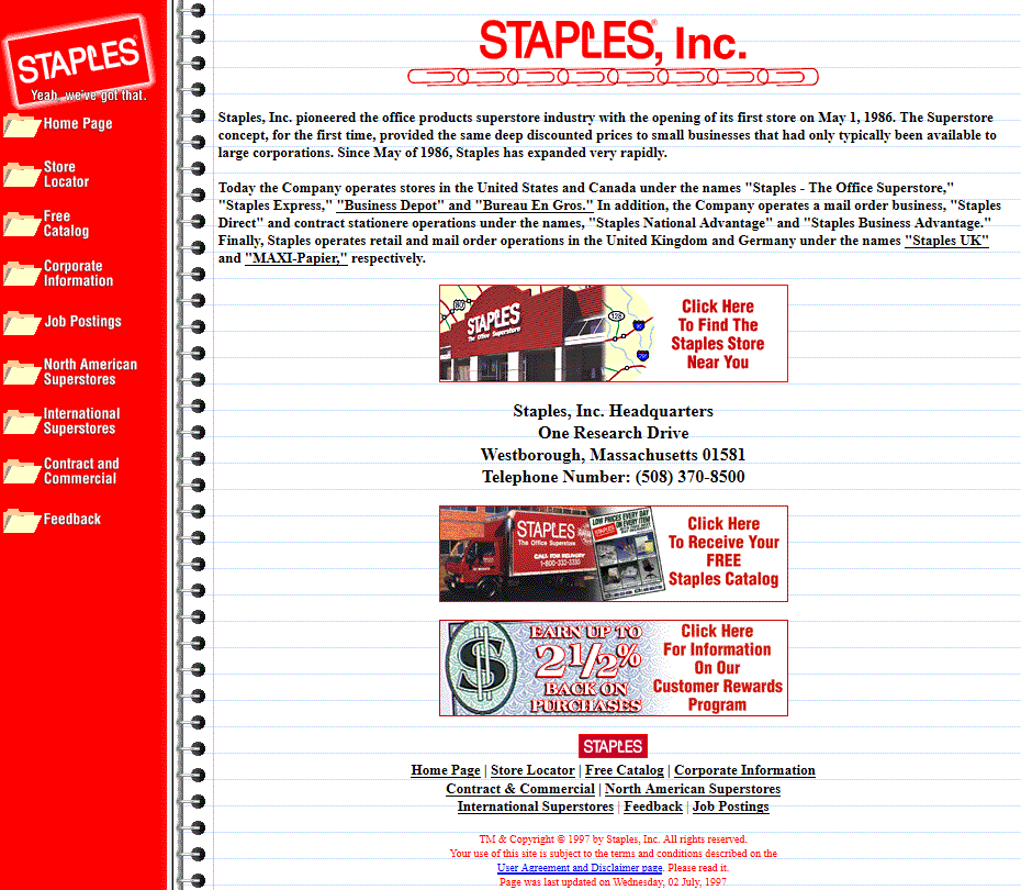 Staples in 1997