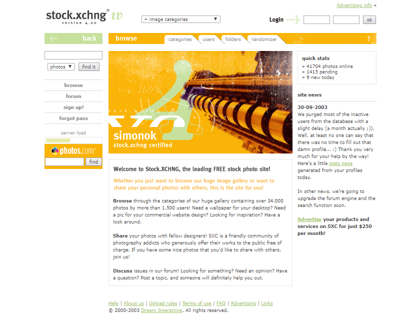 stock.xchng in 2003