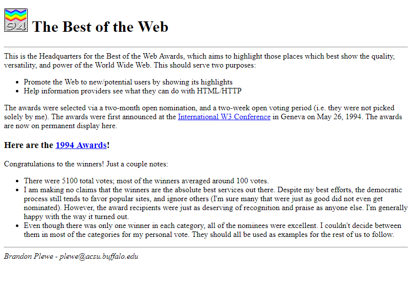 The Best of the Web '94 in 1994