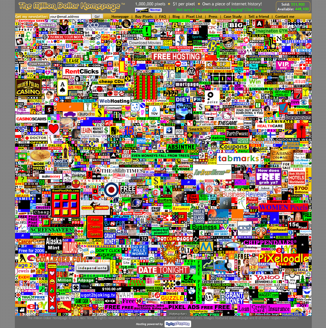 The Million Dollar Homepage 2005