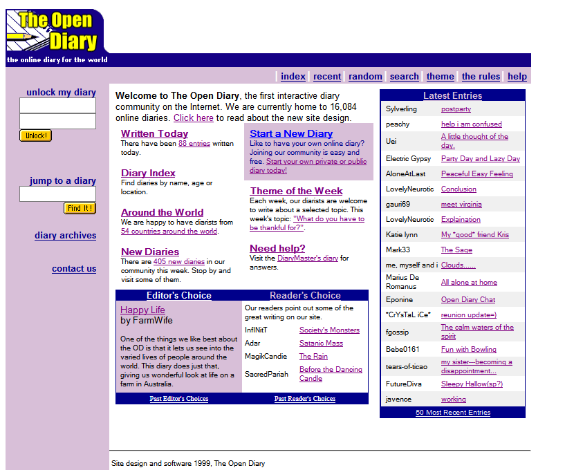 The Open Diary in 1999