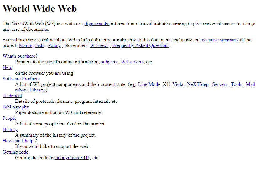 The World's First Website in 1991
