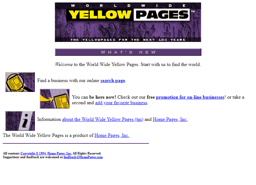 World Wide Yellow Pages in 1994