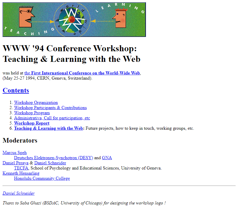 WWW '94 Conference Workshop in 1994