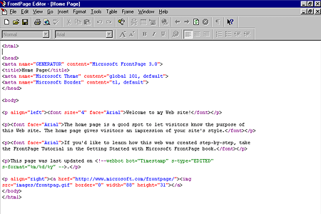 FrontPage Editor Homepage Source Code