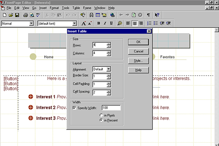 FrontPage Editor Insert Table