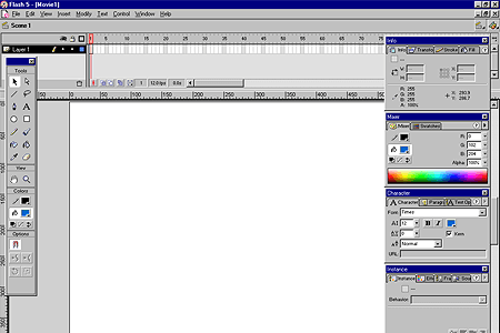 Macromedia Flash 5.0 – Workspace and Palettes