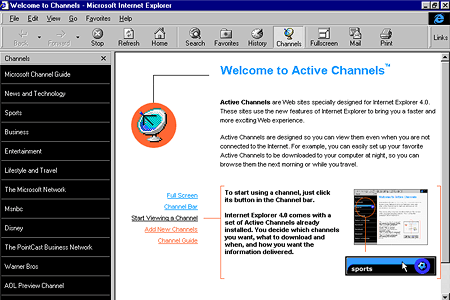 Internet Explorer 4.0 – Welcome to Channels