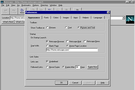 Netscape Navigator 2.01 – Preferences