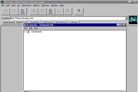 Netscape Navigator 2.01 – Bookmarks