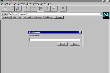 Netscape Navigator 2.01 – Open Location