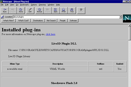 Netscape Navigator 3.04 Gold – Installed plug-ins
