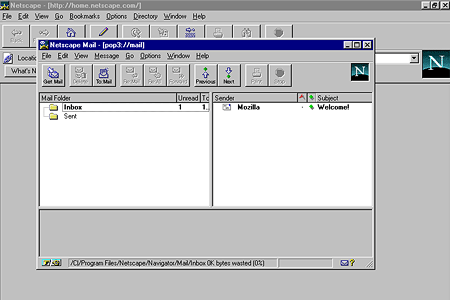 Netscape Navigator 3.04 Gold – Netscape Mail