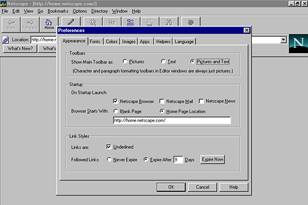 Netscape Navigator 3.04 Gold – Preferences