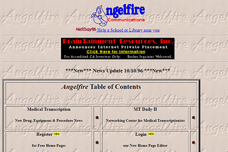 Angelfire in 1996