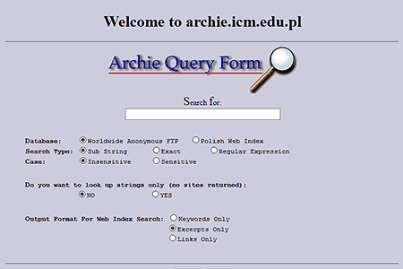 Archie Query Form in 1996