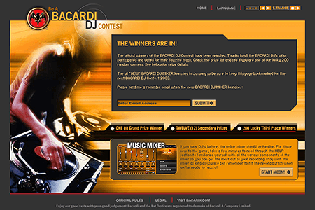 Bacardi DJ Contest in 2003