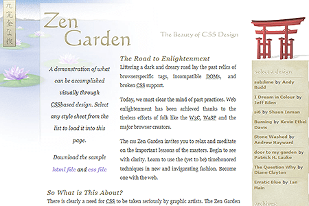 CSS Zen Garden website in 2003