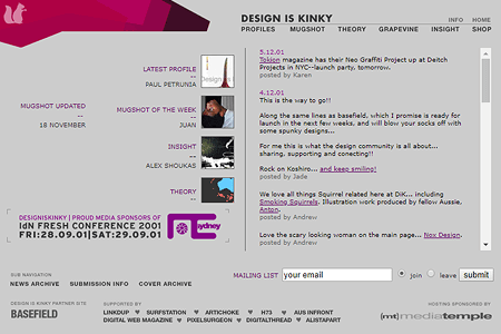 Design is Kinky website in 2001