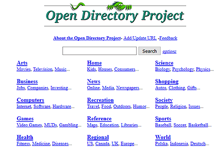 DMOZ.org website in 1999