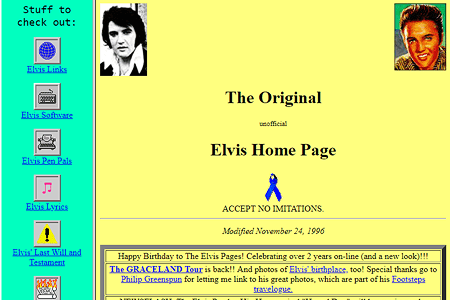 Elvis Presley unofficial homepage in 1996