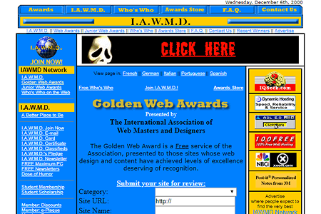 Golden Web Awards in 2000