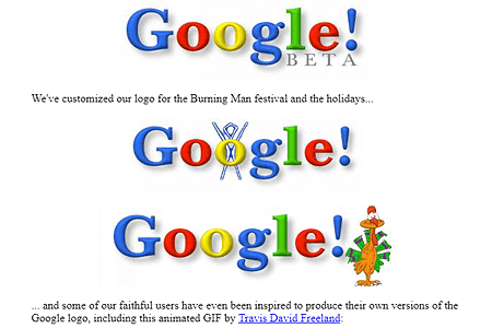 Google logos and stickers in 1999