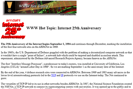 Internet 25th Anniversary in 1994