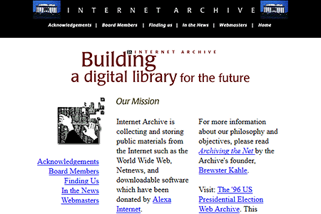 Internet Archive website in 1997