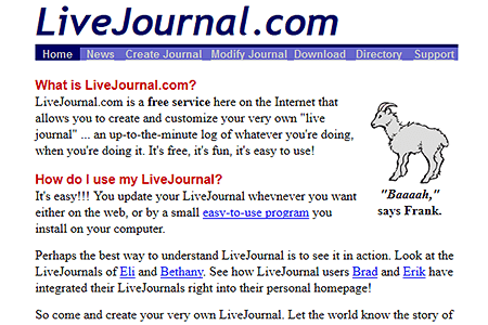 LiveJournal.com in 1999