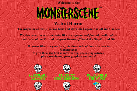 Monsterscene Web of Horror in 1996